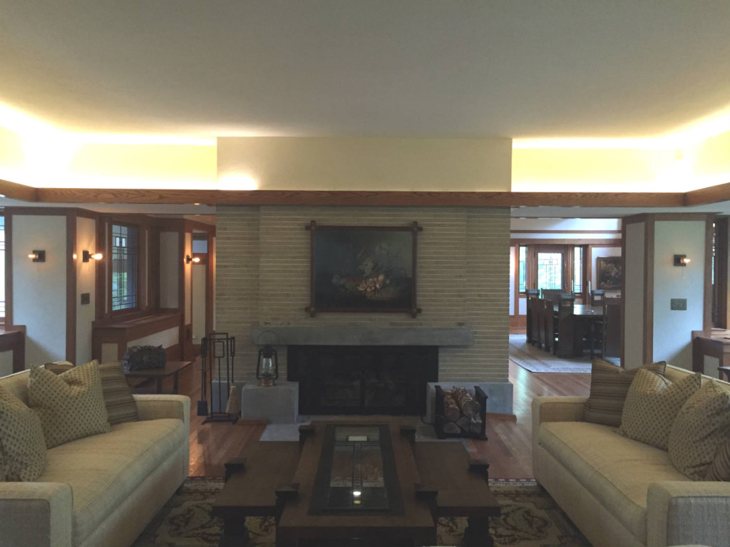 living room with central fireplace