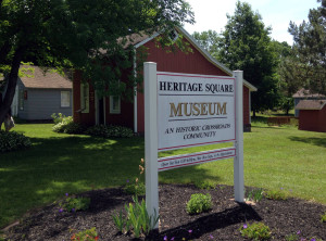 Sign for the Heritage Square Museum in Ontario, New York