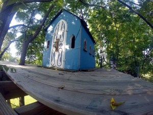 Fisheye of Unfinished Church Treehouse in Geneseo