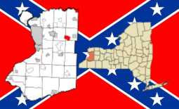 Town Line, New York Map on Confederate Flag