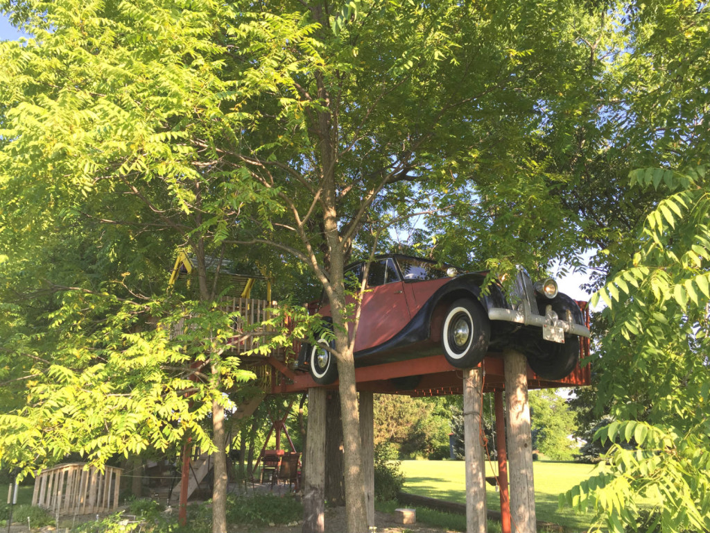 1948 Triumph 1800 Saloon Vintage Car up in a Treehouse in Geneseo