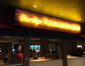 Dorothy's Farmhouse signage in the Yellow Brick Road Casino