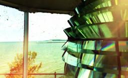 Fresnel Lens and Sodus Pier at Sodus Bay Lighthouse Museum