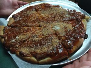Sausage Pizza at O'Scugnizzo's in Utica, New York