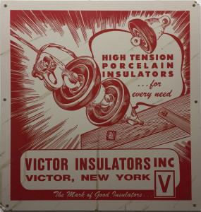 Vintage Victor Insulators Sign in Victor, New York