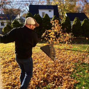 Raking Leaves in Rochester, New York