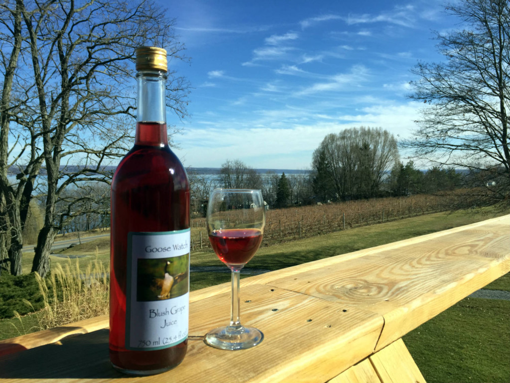 Blush Grape Juice at Goose Watch Farm in Romulus, New York