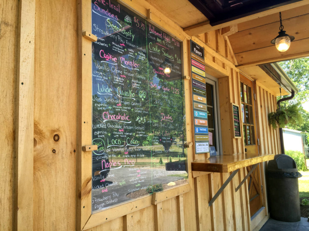 Menu Board at Spotted Duck Creamery in Penn Yan, New York