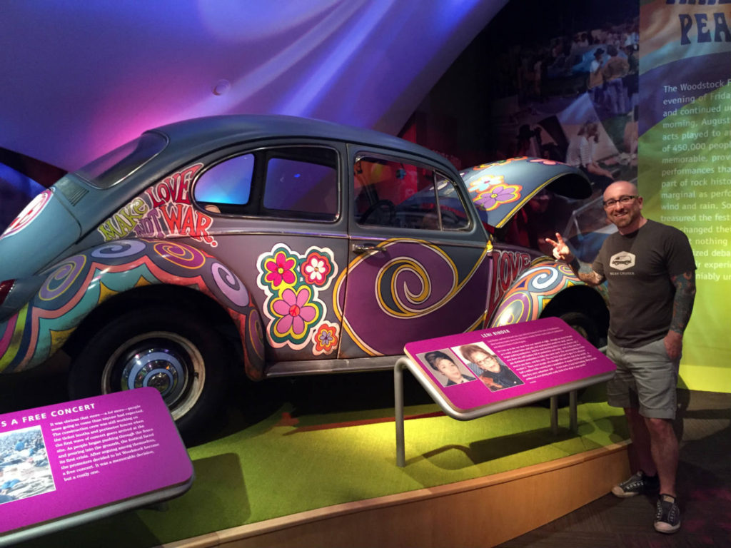 Chris Clemens and VW Bug Exhibit at the Woodstock Museum at Bethel Woods