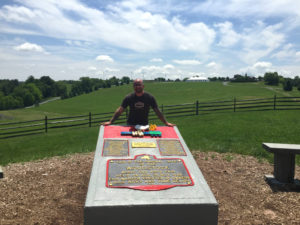 Chris Clemens at the Woodstock Monument in Bethel, New York