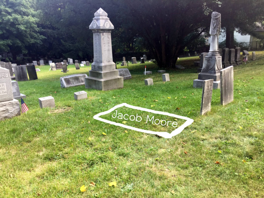 Jacob Moore's Burial in Brighton Cemetery in Rochester, New York