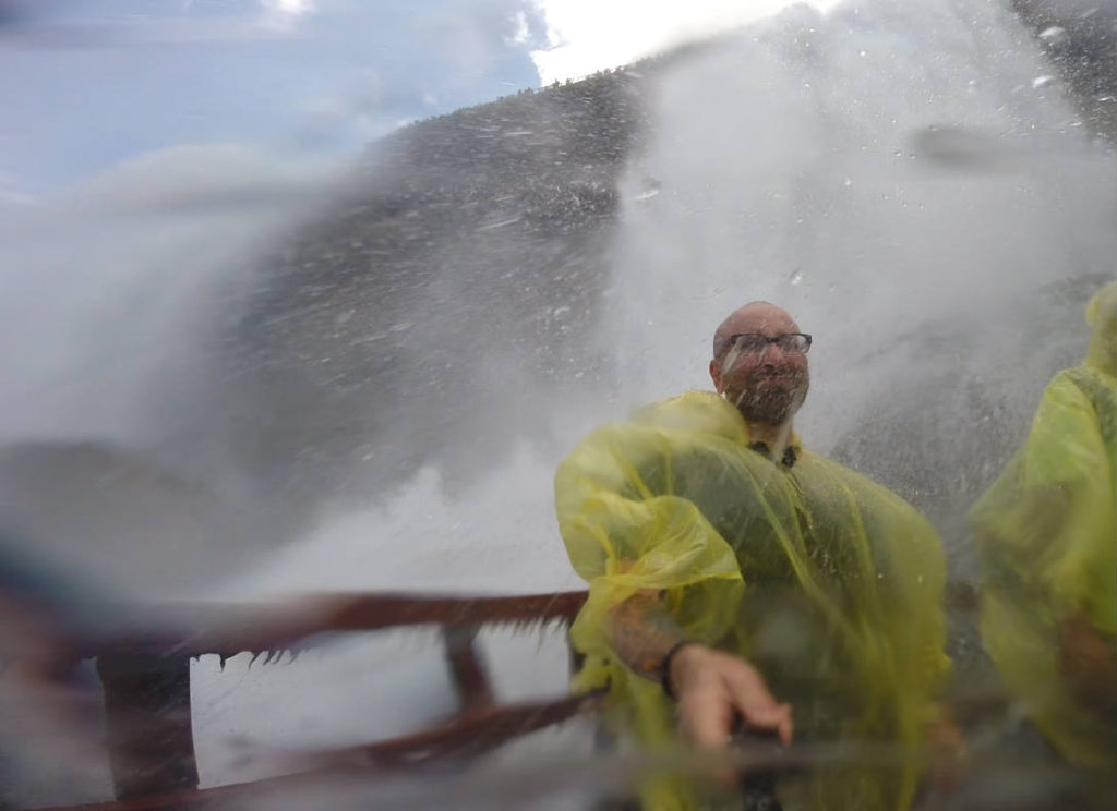 Chris Clemens on the Hurricane Deck of the Cave of the Winds under Bridal Veil Falls at Niagara Falls USA