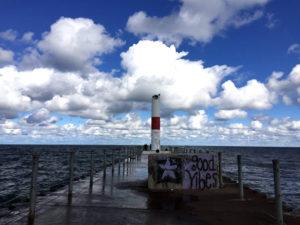 Charlotte Pier Lighthouse on Lake Ontario in Rochester