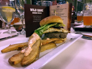 Bison Burger at the 1000 Islands Harbor Hotel in Clayton, New York