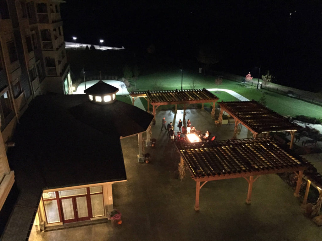 1000 Islands Harbor Hotel Patio at Night in Clayton, New York