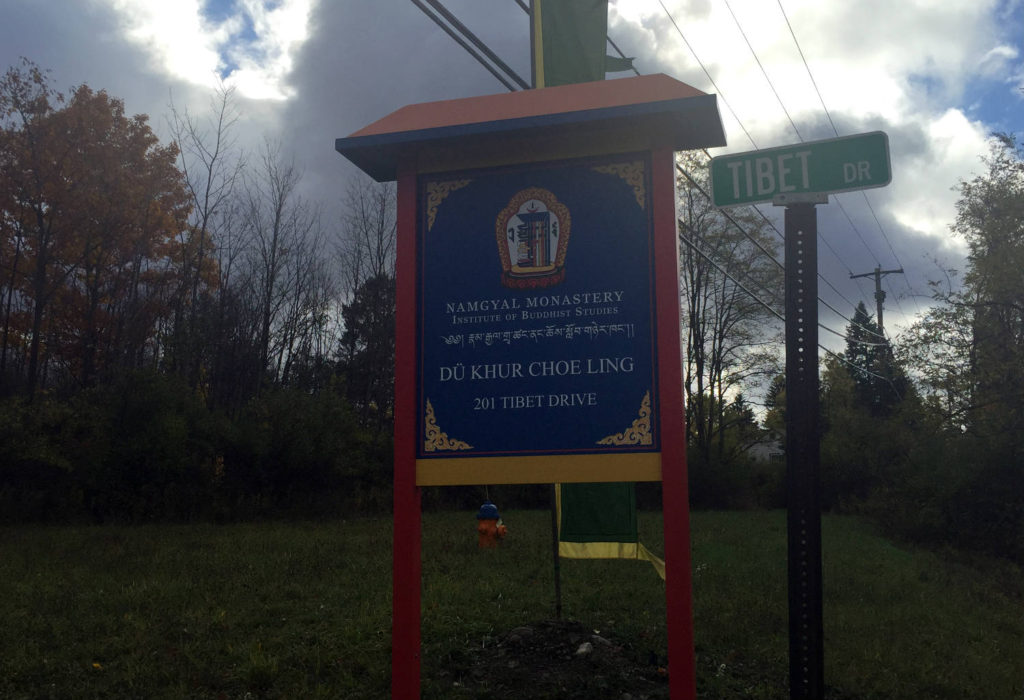 Signage for Namgyal Monastery in Ithaca, New York
