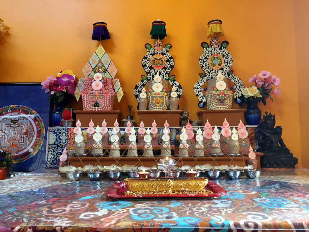Butter Lamps in Namgyal Monastery in Ithaca, New York