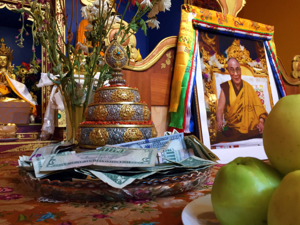 Offerings to the Dalai Lama at the Namgyal Monastery in Ithaca, New York