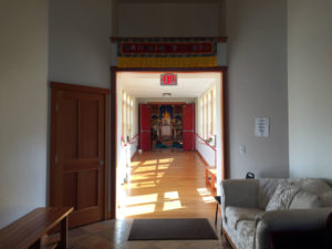 Corridor to Shrine at Namgyal Monastery in Ithaca, New York
