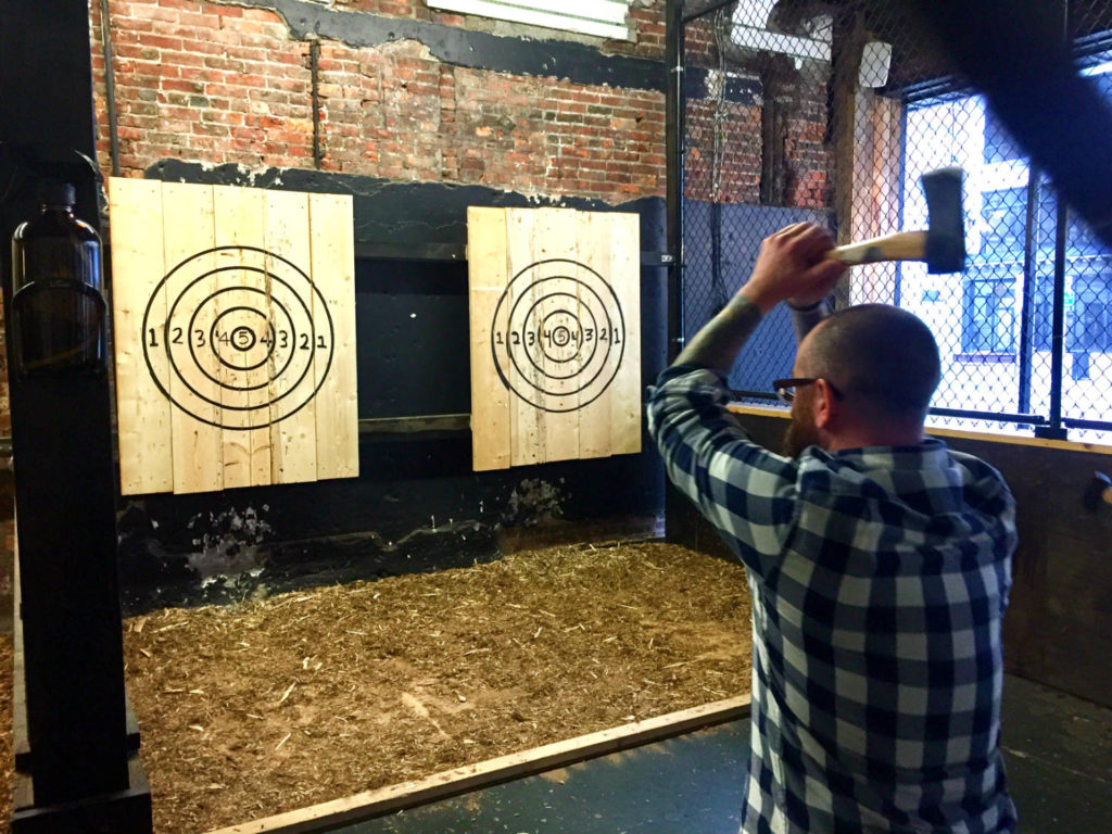 Chris Clemens Throwing Axes at Hatchets and Hops in Buffalo, New York