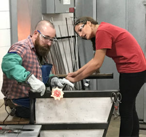 Chris Clemens Making Glass Flower at Corning Museum of Glass