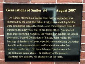 Plaque for Dentist's Mural in Lyons, New York