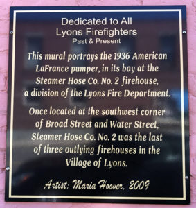 Plaque for Firefighter's Mural at Growlers Pub in Lyons, New York