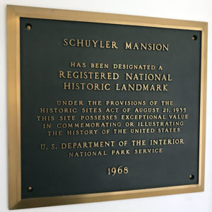 Historic Landmark Sign at the Schuyler Mansion in Albany, New York