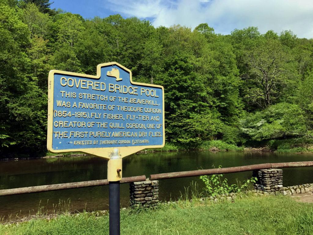 Covered Bridge Pool Historical Marker in Roscoe, New York