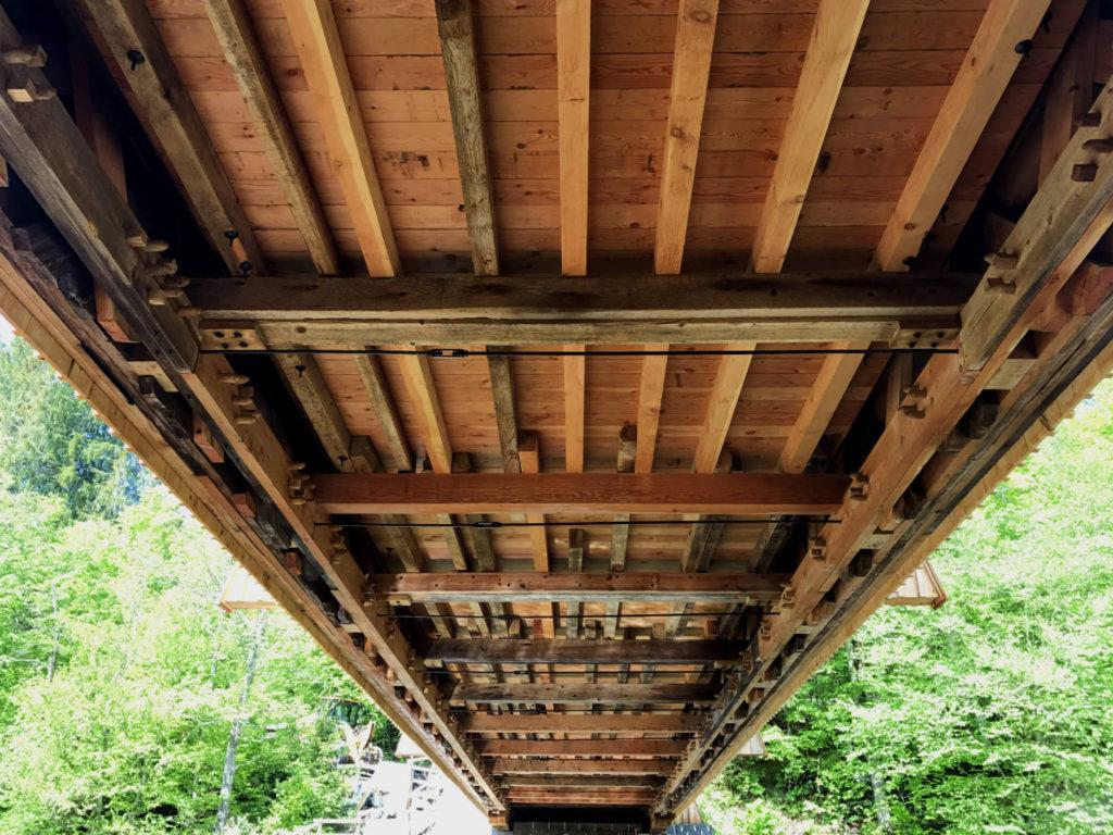 Underneath the Beaverkill Covered Bridge in Roscoe, New York