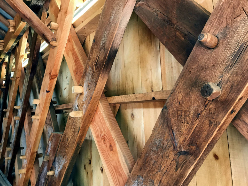 Pins in Beams on the Beaverkill Covered Bridge in Roscoe, New York