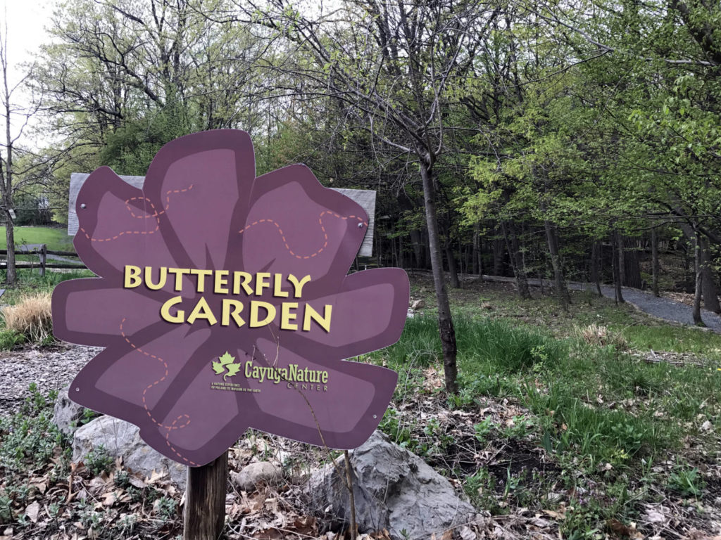 Butterfly Garden Sign at the Cayuga Nature Center in Ithaca, New York
