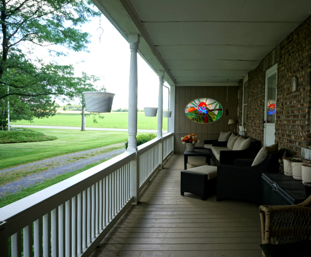 Outside Porch at the Barden Cobblestone Home in Penn Yan, New York
