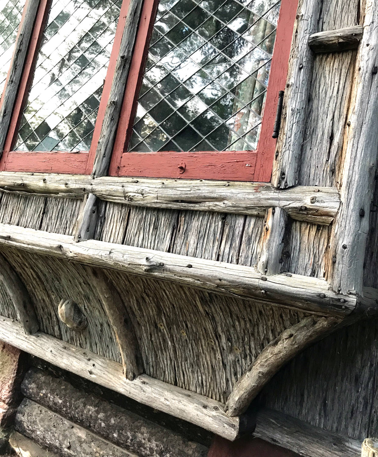 WIndow Detail at the Lodge in Camp Pine Knot in the Adirondacks