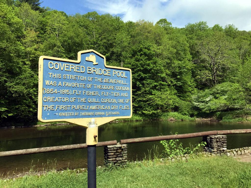 Historical Marker on Beaverkill River in the Catskills
