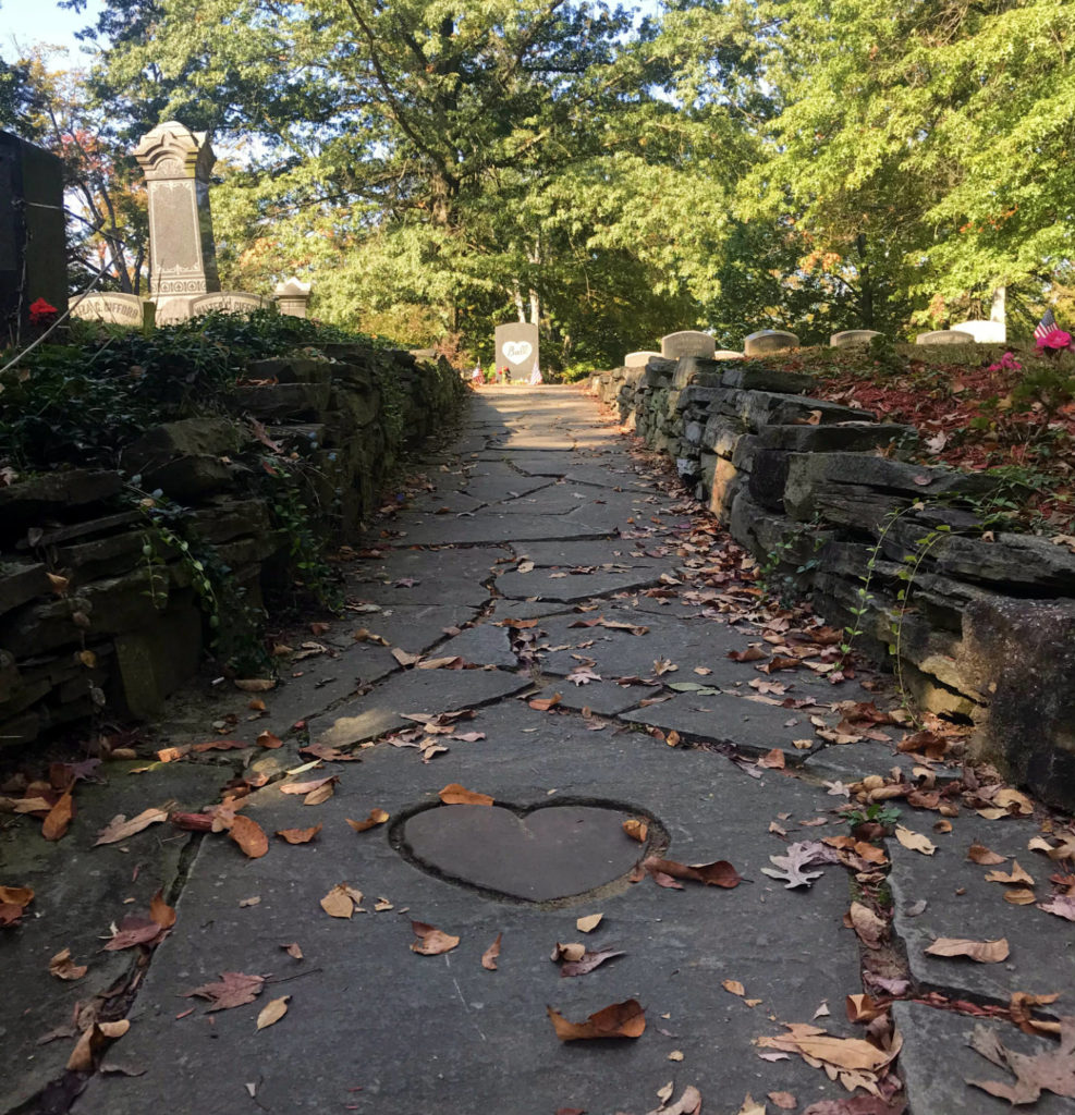 Heart Stone Path to Lucille Ball's Grave in Lake View Cemetery in Jamestown, New York