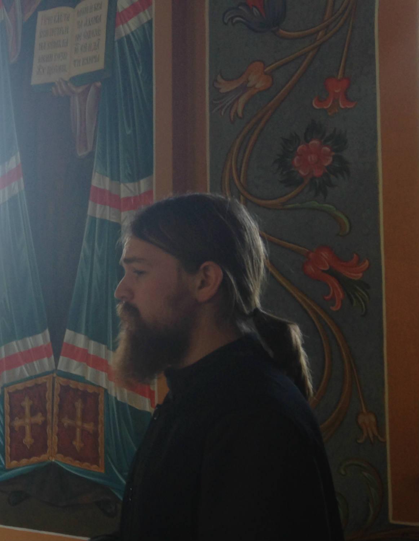 Holy Trinity Monastery - Jordanville, NY Brother Angelos in the Baptistry
