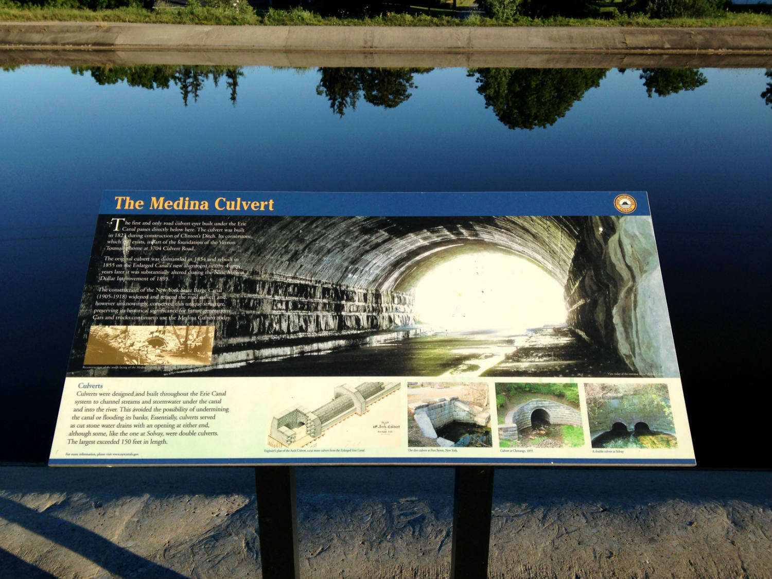 The Medina Culvert - Medina, NY - Sign on the Canal