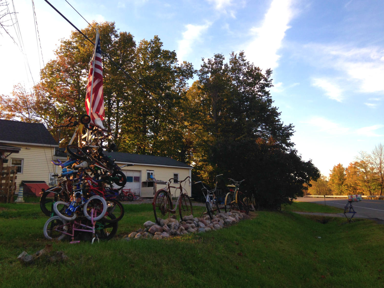 Bicycle Art and Yard Sculptures - Palmyra, NY Bikes with American Flag