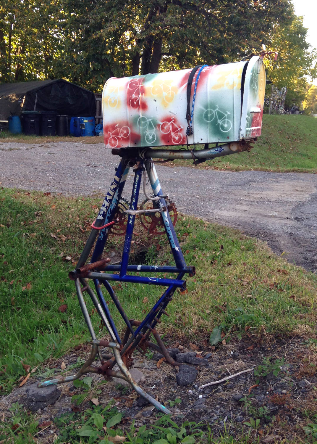 Bicycle Art and Yard Sculptures - Palmyra, NY Bike Frame Mailbox