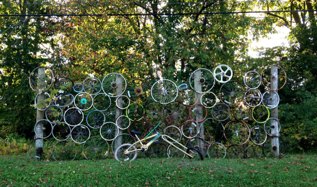 Bicycle Art and Yard Sculptures - Palmyra, NY Wheel Fence