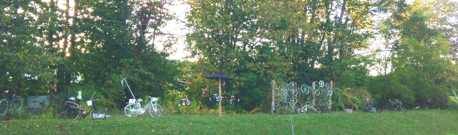 Bicycle Art and Yard Sculptures - Palmyra, NY Pano