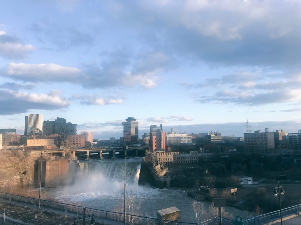 High Falls in Rochester, New York, Monroe County as seen from the Genesee Brew House