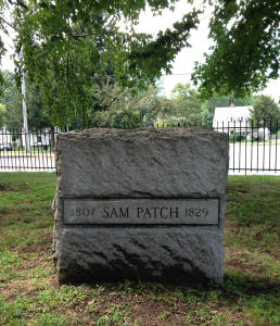 Front view of Grave Marker of Sam Patch Charlotte Cemetery Rochester, NY