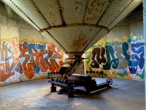 Grain Hopper and Graffiti in the American Silo Building; Buffalo, NY