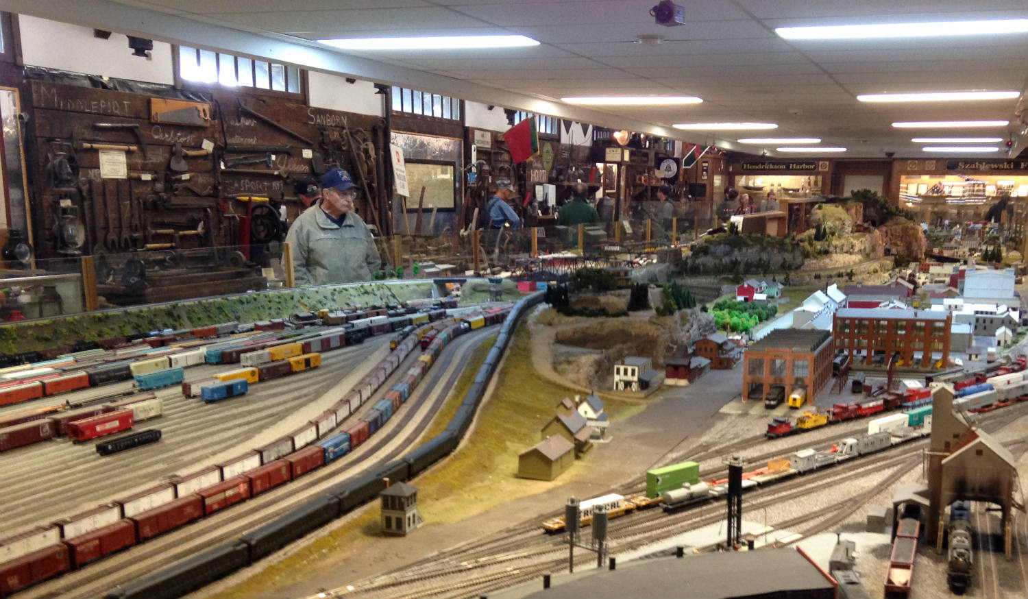 Man and Model Railroad at Medina Railroad Museum in Medina, NY