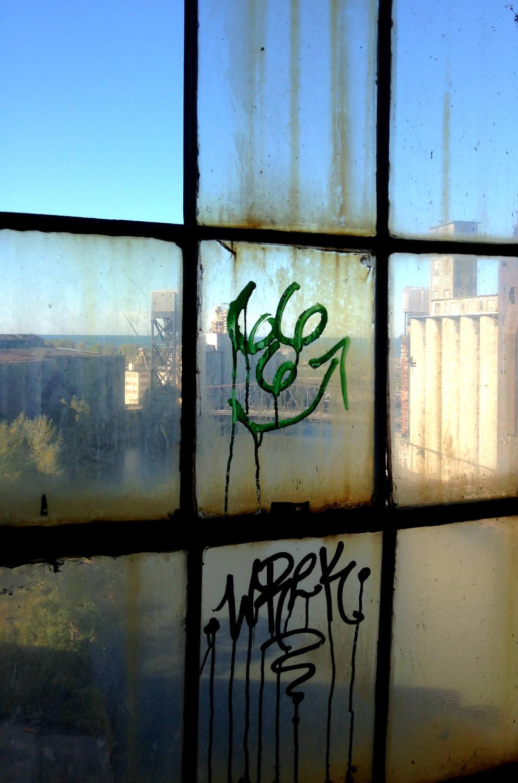Graffiti Window View of Silo City
