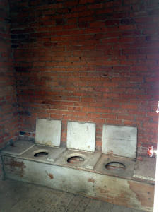 Inside the Second Floor of Two Story Brick Outhouse in Phelps, NY