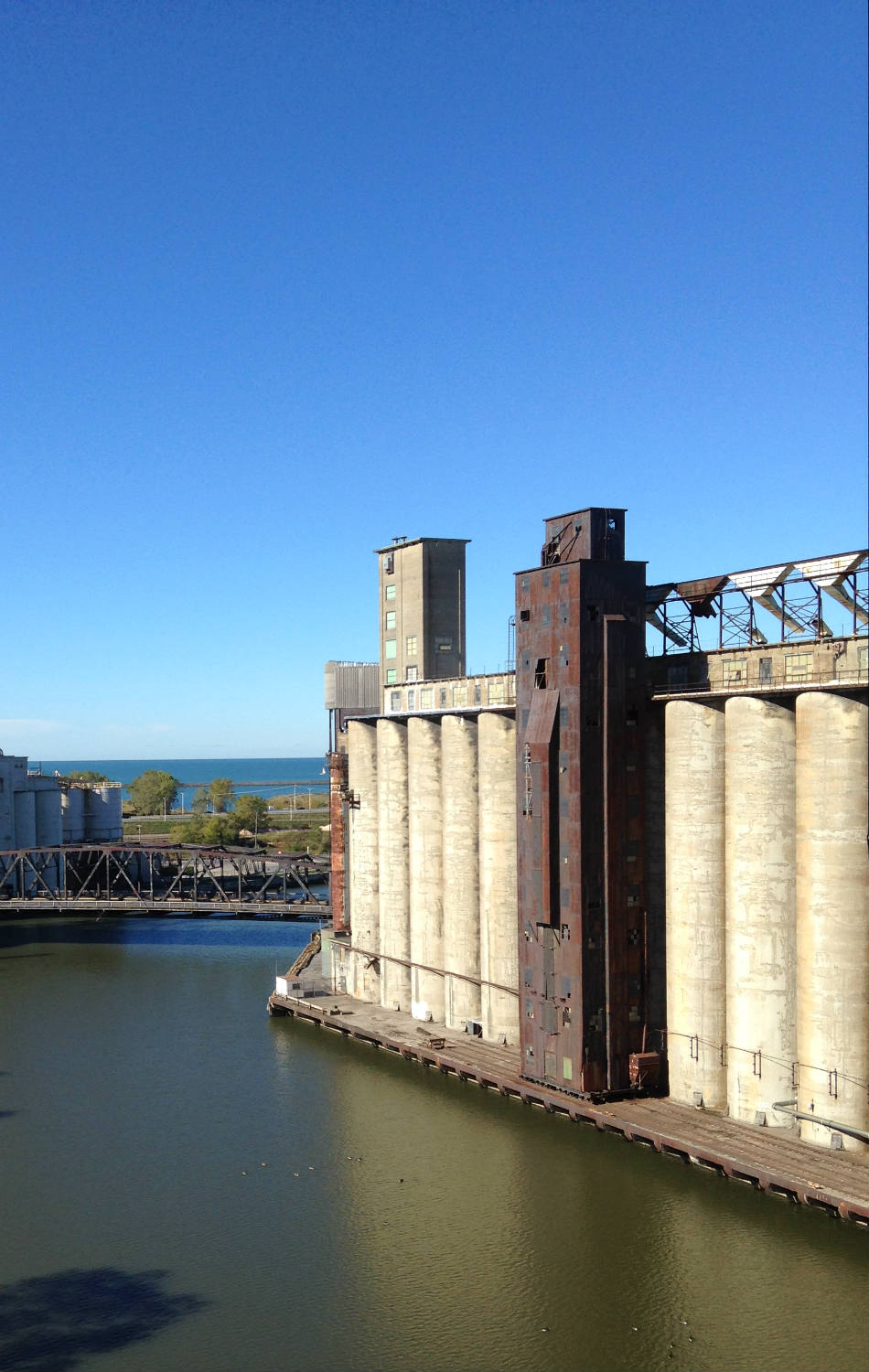 Aerial View of Silo City and Lake Erie