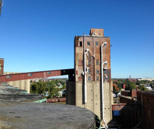 The Perot Silo as seen from the American Silo in Buffalo, NY